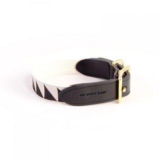 Nice Grill Leather Collar, Cream & Black (ナイス・グリル・レザーカラー, クリーム & ブラック)