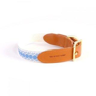 You're A Stud Leather Collar, Cream & Lake Blue (ユア・スタッド・レザーカラー, クリーム & レイクブルー)