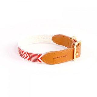 Out Of My Box Leather Collar, Cream & Vermillion (アウト・オブ・マイ・ボックス・レザーカラー, クリーム & バーミリオン)