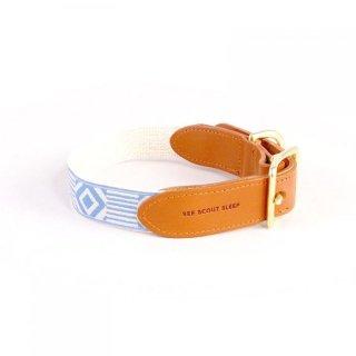 Out Of My Box Leather Collar, Cream & Lake Blue (アウト・オブ・マイ・ボックス・レザーカラー, クリーム & レイクブルー)