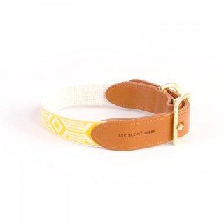Out Of My Box Leather Collar, Cream & Marigold (アウト・オブ・マイ・ボックス・レザーカラー, クリーム & マリーゴールド)