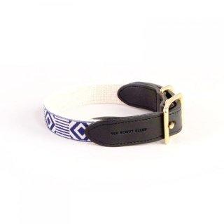 Out Of My Box Leather Collar, Cream & Navy Blue (アウト・オブ・マイ・ボックス・レザーカラー, クリーム & ネイビーブルー)