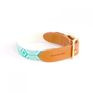 <img class='new_mark_img1' src='https://img.shop-pro.jp/img/new/icons35.gif' style='border:none;display:inline;margin:0px;padding:0px;width:auto;' />Out Of My Box Leather Collar, Cream & Teal (アウト・オブ・マイ・ボックス・レザーカラー, クリーム & ティール) XLサイズのみ