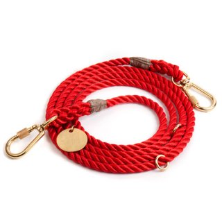 Red Synthetic Rope Dog Leash, Adjustable(レッド・ロープ・ドッグ・リーシュ, アジャスタブル)