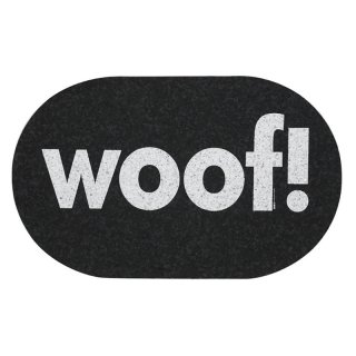 Jumbo Oval Woof Recycled Rubber Placemat, Dark Grey (ジャンボ・オーバル・ラバー・プレイスマット, ダークグレイ)
