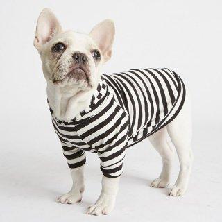 Bamboo Knit Hoodie - BlackWhite Stripe (バンブー・ニット・フーディー - ブラックホワイト ストライプ)