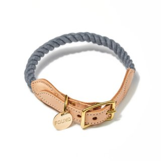 Grey Up-cycled Rope Cat & Dog Collar(グレー・アップサイクル・ロープ・キャット & ドッグ・カラー)