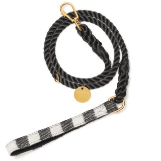<img class='new_mark_img1' src='//img.shop-pro.jp/img/new/icons41.gif' style='border:none;display:inline;margin:0px;padding:0px;width:auto;' />Black and White Plaid Rope Dog Leash (ブラック・アンド・ホワイト・プラッド・ロープ・ドッグ・リーシュ)