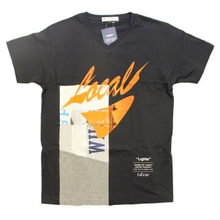 remake v-neck tshirt(BLACK×ORANGE)