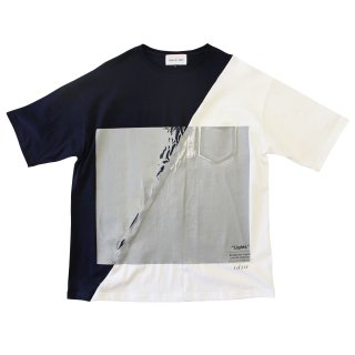 SLASH WALL TEE (NAVY/WHITE)
