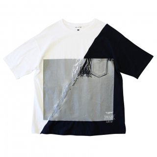 SLASH WALL TEE (WHITE/NAVY)