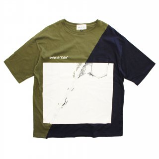 SLASH WALL TEE(KHAKI/NAVY)
