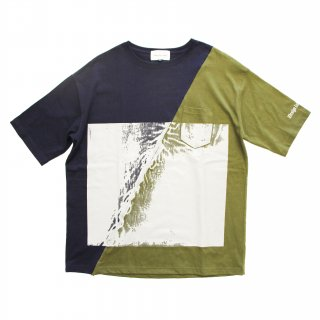 SLASH WALL TEE(NAVY/KHAKI)