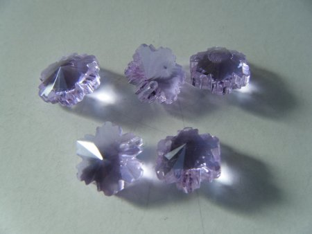 サンキャッチャー ミニ 雪の結晶 1つ穴 紫 5個セット