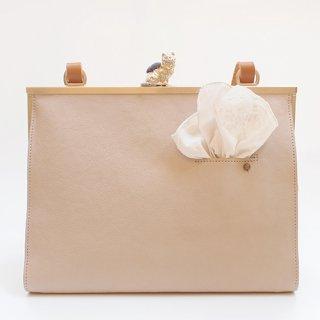 猫のピンクッションbag(L) アイボリー