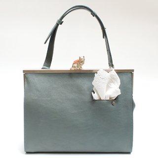 猫のピンクッションbag(L)ハンカチーフ ブルー