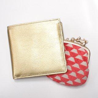 ガマグチ付き 折財布 ゴールド