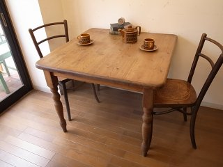 アンティークパイン W90正方形テーブル