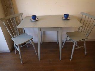 ビンテージ 小ぶりのバタフライテーブル(ブルーグレイ)