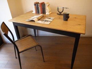 アンティークパイン W120細長テーブル(黒脚)