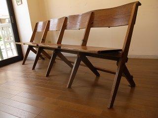 アンティーク 4人掛けの折り畳みチャーチベンチ