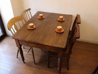 アンティークテーブル W122濃い目のオールドパイン