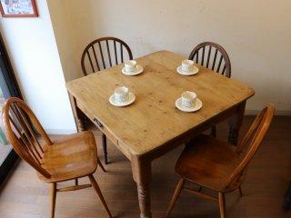 アンティークパイン W89正方形テーブル