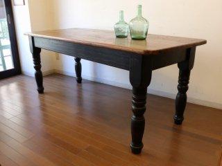 アンティークパイン W183テーブル(黒脚)