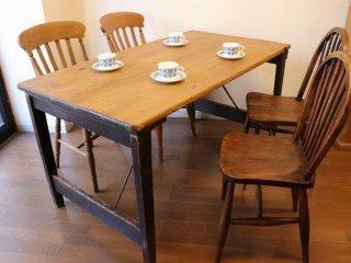 アンティークパイン W137折り畳みテーブル