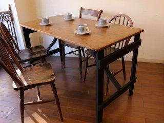 アンティークパイン W136折り畳みテーブル