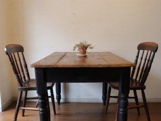 アンティークパイン W105黒脚テーブル