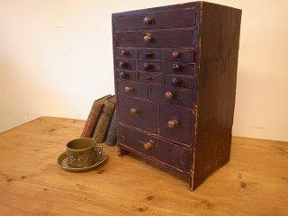 アンティークパイン 卓上引出し 時計屋さんの道具箱