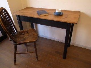 アンティークパイン 黒脚の細長テーブル