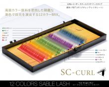 SCカール 12色レインボー カラーエクステ セーブルラッシュケースタイプ