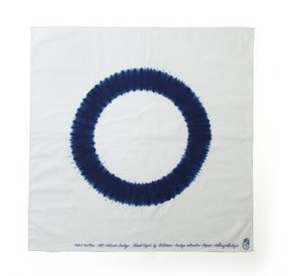 "Bandana Shibori ""Ring""<br />Color: White w/blue"