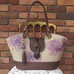 紫アネモネフランスリネン・籠トートバッグ