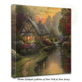 Thomas Kinkade Evening at Autumn Lake 14 x 14 Gallery Wrap Canvas