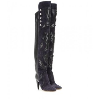 2015 新作 ISABEL MARANT イザベルマラン ☆ Becky embellished suede and leather over-the-knee boots ☆