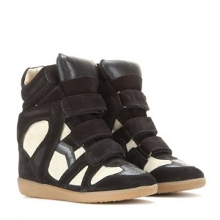 2015 新作 ISABEL MARANT イザベルマラン ☆ Bekett Leather and Suede Concealed Wedge Sneakers   ☆