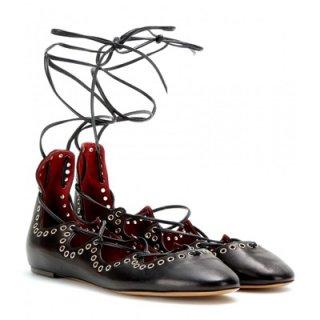 2015 新作 ISABEL MARANT イザベルマラン ☆ Leo embellished leather ballerinas ☆