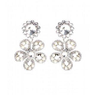 2015 新作 Miu Miu ミュウミュウ ☆Crystal and faux pearl flower clip-on earrings☆