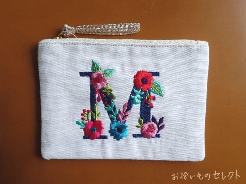 彩り刺繍アルファベットのポーチ R,S,A,M