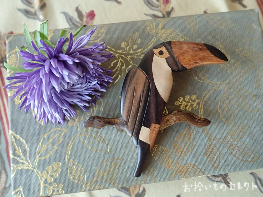 オニオオハシ木象嵌ブローチ