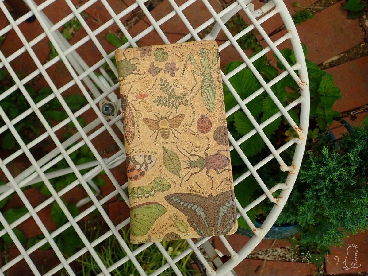虫夢虫柄●スライド式手帳型スマホカバー貼り付けタイプ