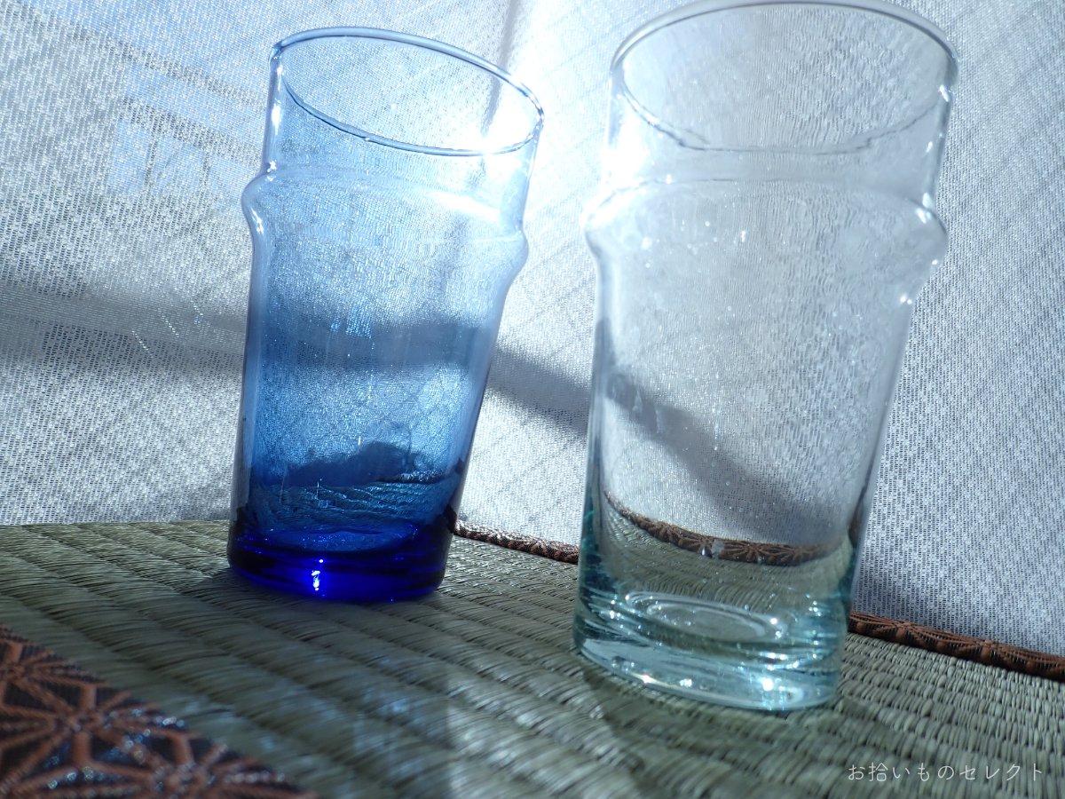 吹きガラスで作られた モロッコのチャイグラス