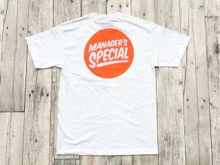 MANAGER'S SPECIAL [マネージャーズスペシャル] LOGO TEE/WHITE-ORANGE