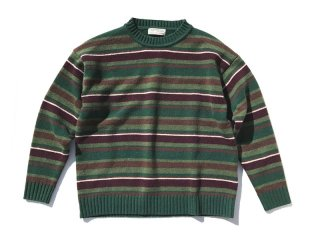 GOOFY CREATION [グーフィークリエーション] Lambs wool border knit/Green