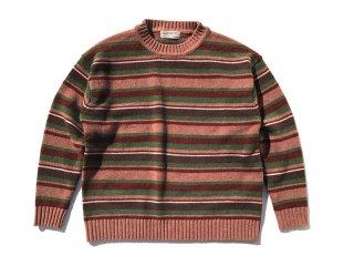 GOOFY CREATION [グーフィークリエーション] Lambs wool border knit/ Smoky Pink