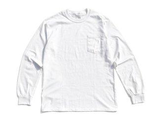 mood_tokyo [ムード・トウキョウ] LOGO LONG SLEEVE POCKET TEE/WHITE