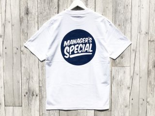 MANAGER'S SPECIAL [マネージャーズスペシャル] LOGO TEE/WHITE-NAVY